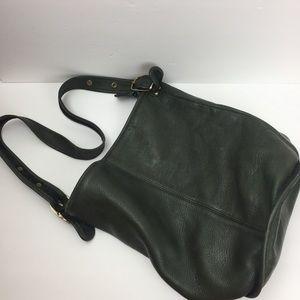 Vintage leather green pebbled bucket bag